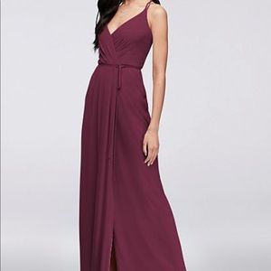 David's bridal Double-Strap Georgette Wrap Dress